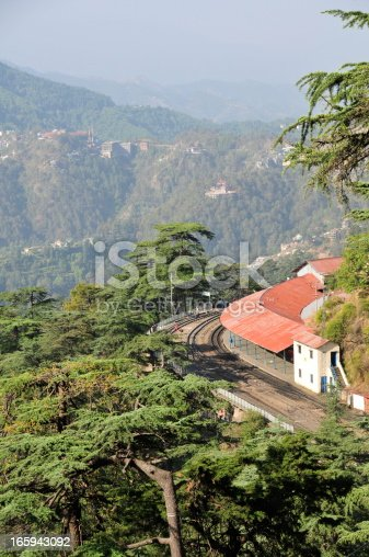 Telephoto image of Himalayan railway most northerly and last due to the mountainous region.