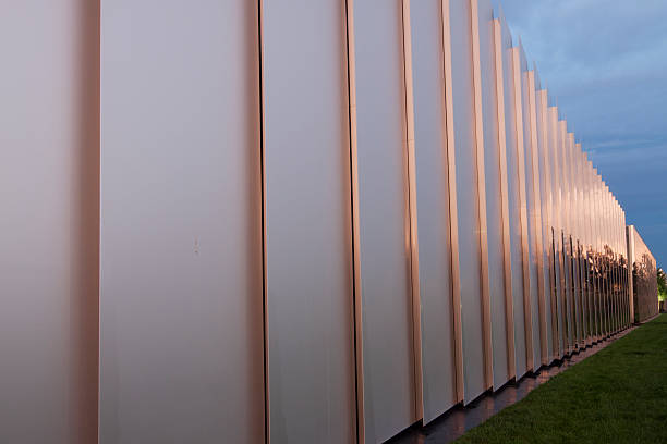 Shimmering architectural metal wall stock photo
