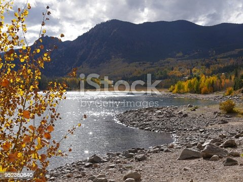 Dillon Lake made more beautiful with fall colors at the Summit County, Colorado