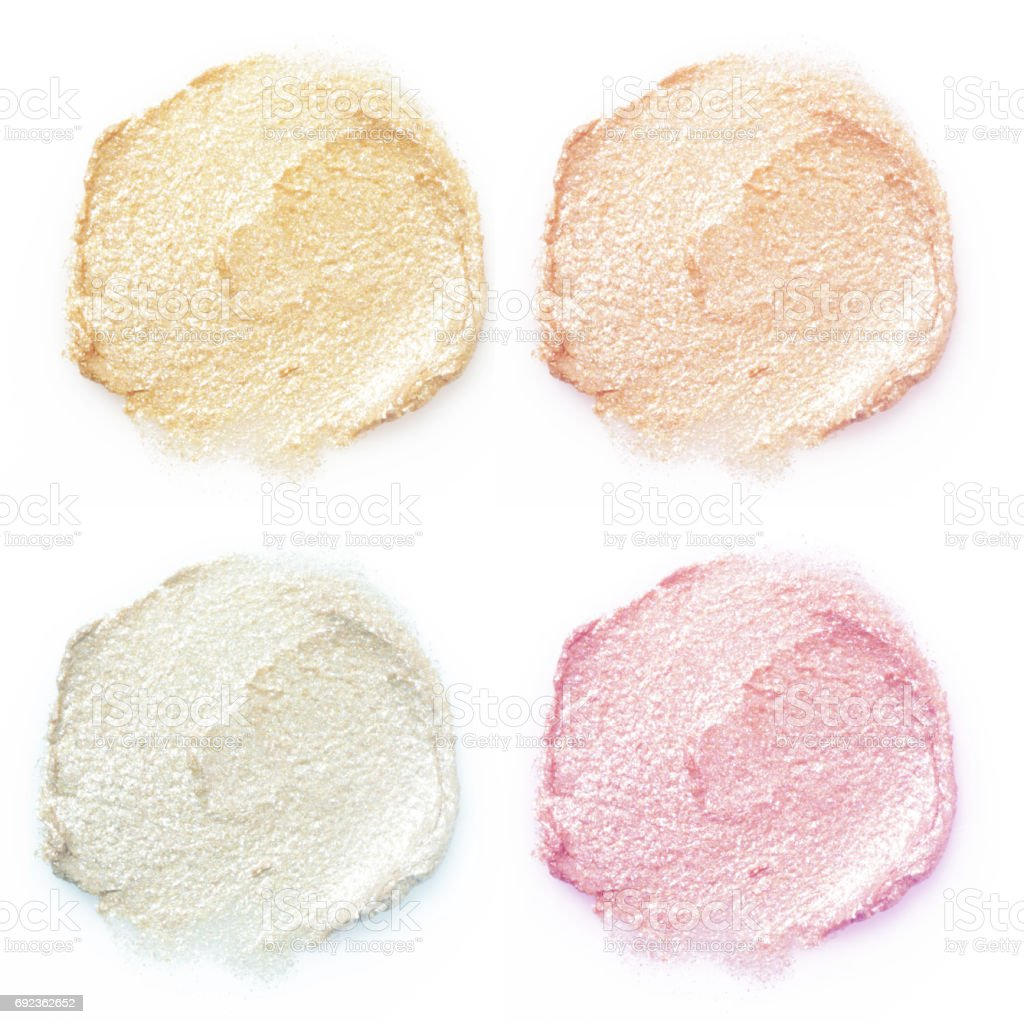 Shimmery makeup samples stock photo