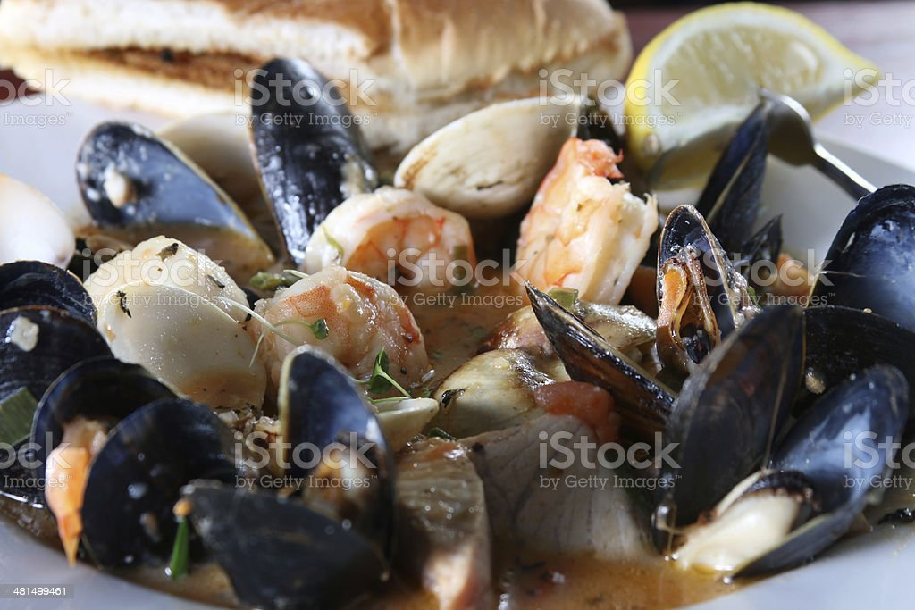 Shimp and mussels with fish, lemon, bread stock photo