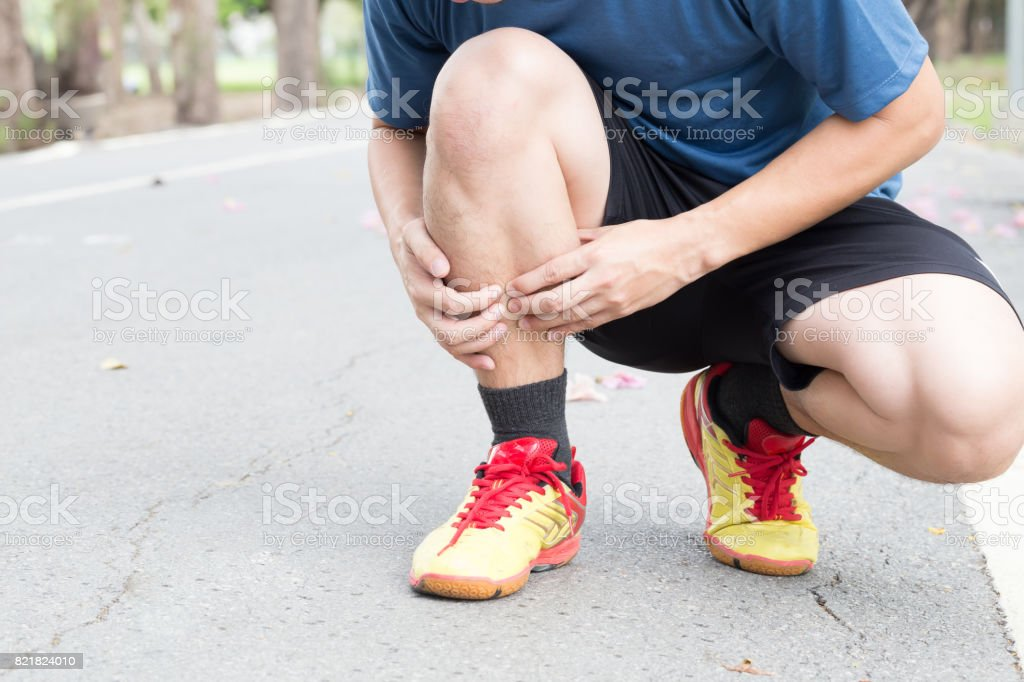 Shin bone injury from running, Splint syndrome stock photo