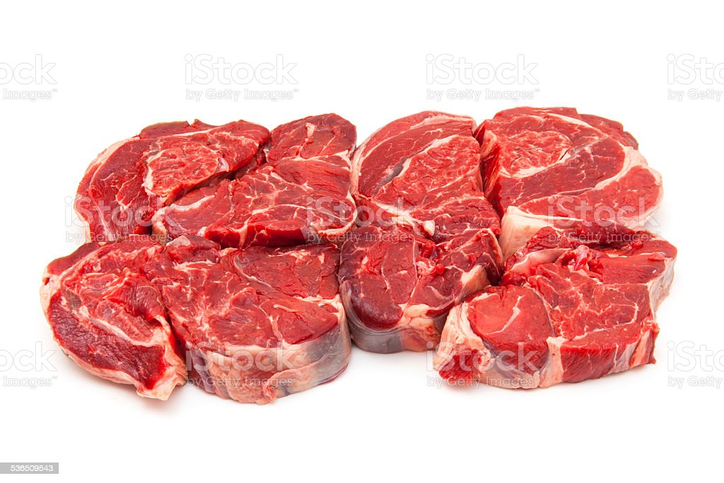 Shin of beef meat isolated on a white studio background, stock photo