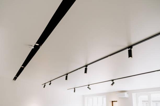 Shine Electric Led Spot Light on White Ceiling stock photo