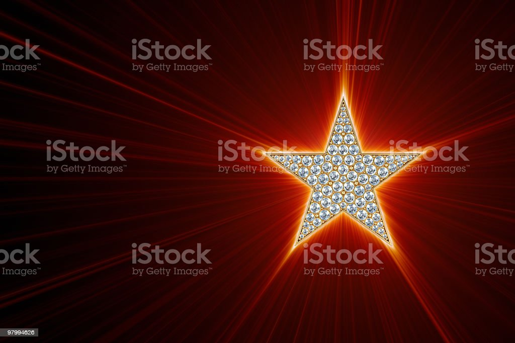 Shine of glamour gold star royalty-free stock photo