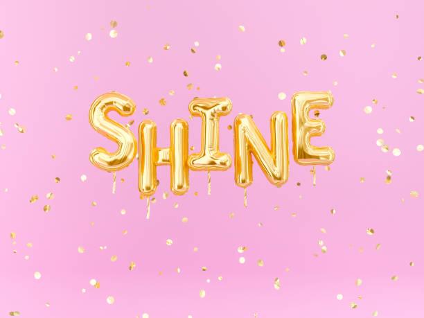 shine text zeichen buchstaben mit goldenem konfetti-motivationsbanner - rosa zitate stock-fotos und bilder