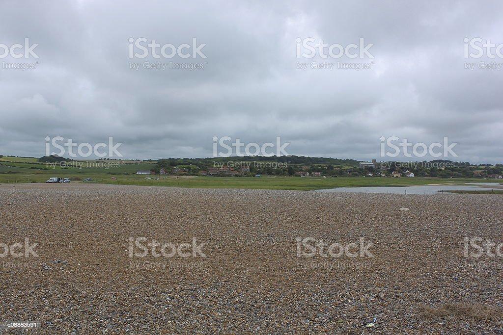 Shingle Beach at Salthouse, North Norfolk. stock photo