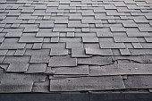 Shingles roof damage covered with frost. Close up view on Asphalt Roofing Shingles Background. Roof Shingles - Roofing.