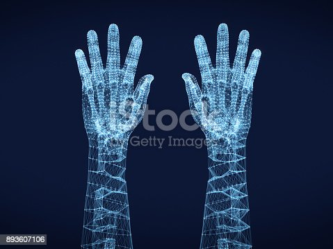 istock Shining dots and line of skeleton ,Hand human .3D rendering. 893607106