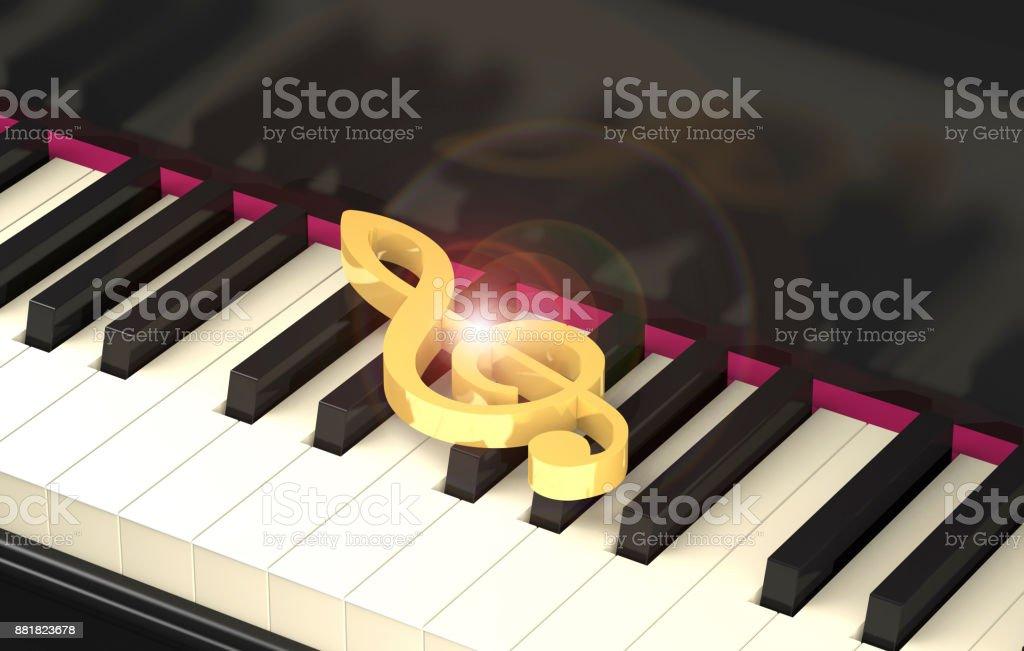Shining golden treble clef on the piano keyboard (3d illustration). stock photo