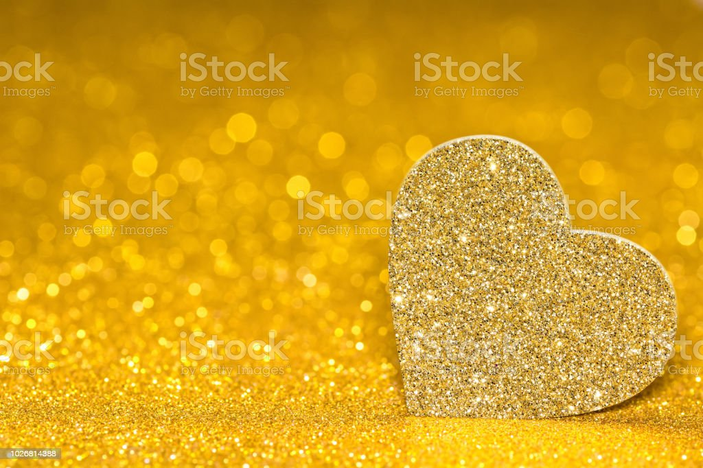 Shining Heart On A Golden Radiant Background Glitter Shine