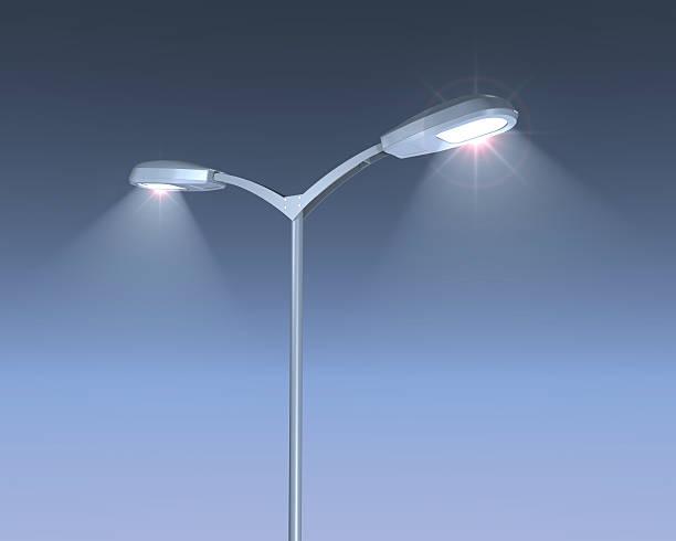 Shining Lamps post stock photo