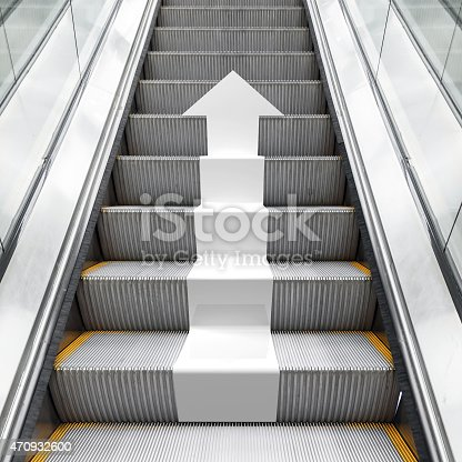 istock Shining metal escalator with white 3d arrow 470932600