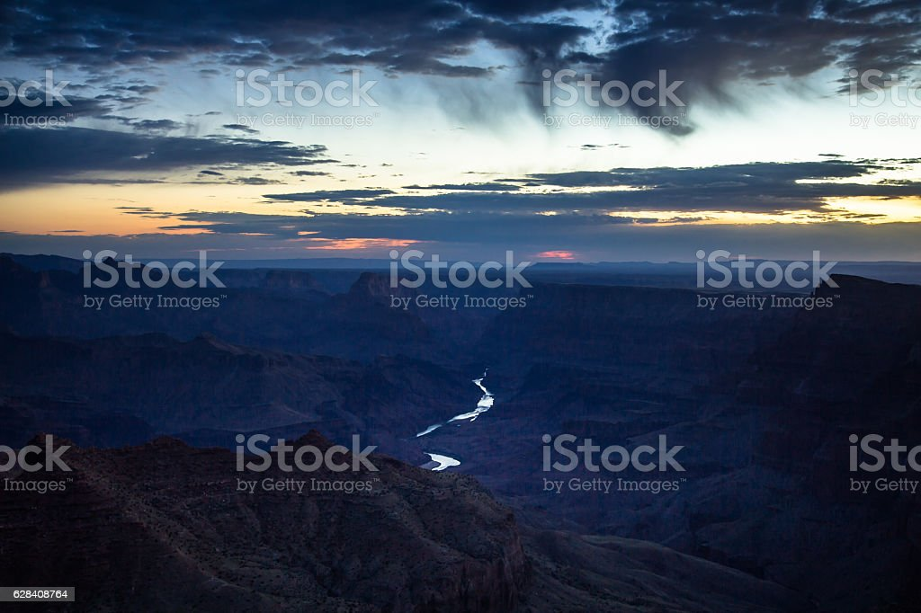 Shining River in the Grand Canyon at Sunrise stock photo