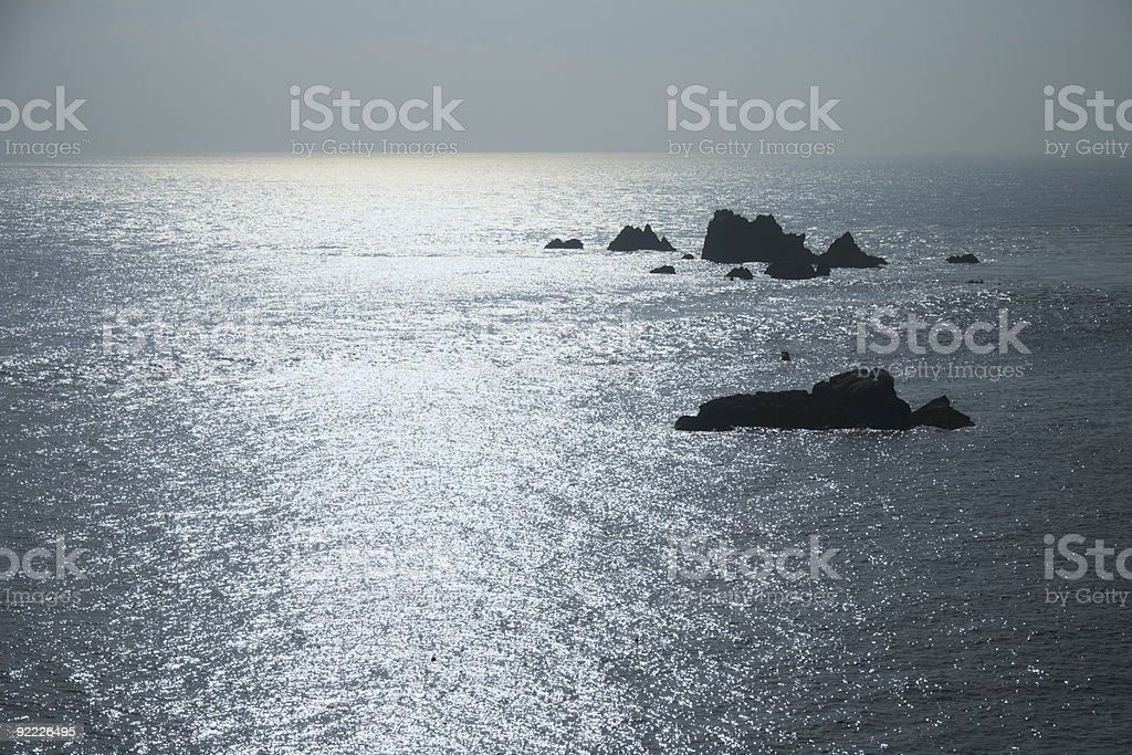 shining sea view with reefs,  blue Water Surface background royalty-free stock photo