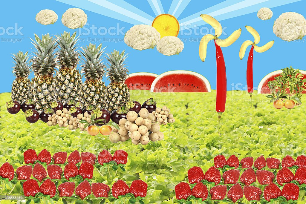 Shining summer background with fruits and vegetable. stock photo
