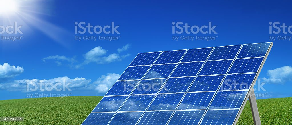Shining Sun and Solar Panels royalty-free stock photo