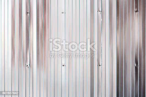 istock shining texture of corrugated galvanized metal wall 601937642