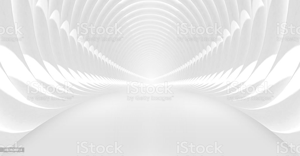 Shining white tunnel interior. 3d illustration stock photo