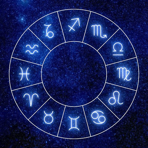shining zodiac signs against  space sky and stars. - boğa hayvan stok fotoğraflar ve resimler