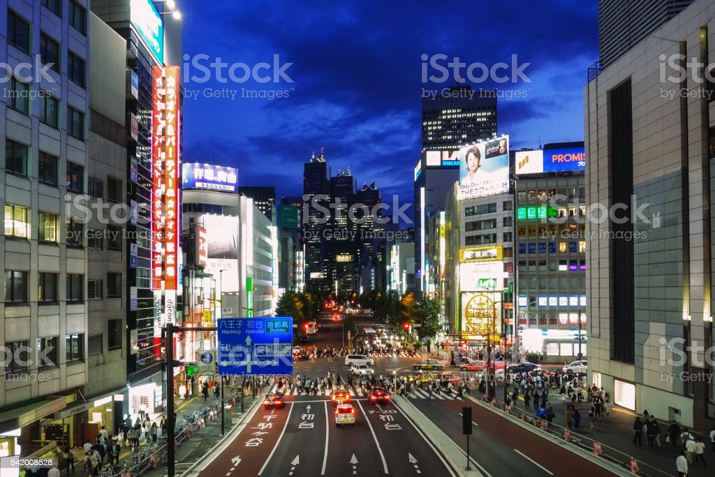 Shinjuku Japan at Night stock photo