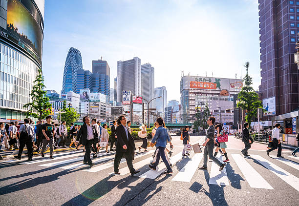 Shinjuku shopping district, Tokyo, Japan stock photo