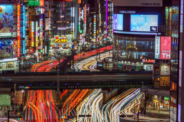 shinjuku traffic by night - shinjuku ward stock photos and pictures