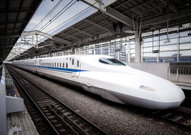 Shinkansen Bullet Train at Kyoto Station Kyoto, Japan - Jan 21, 2017: A Tokaido Shinkansen bullet train ready to leave Kyoto Station. bullet train stock pictures, royalty-free photos & images