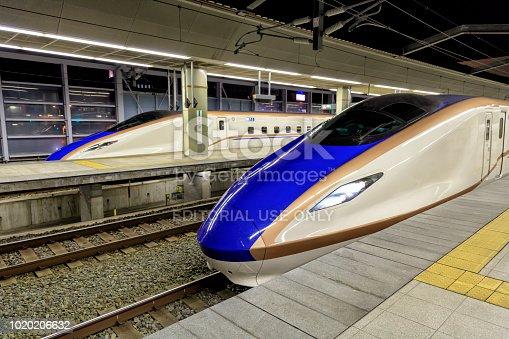 The shinkansen popularly known as the bullet train at Nagano railway station, Japan.