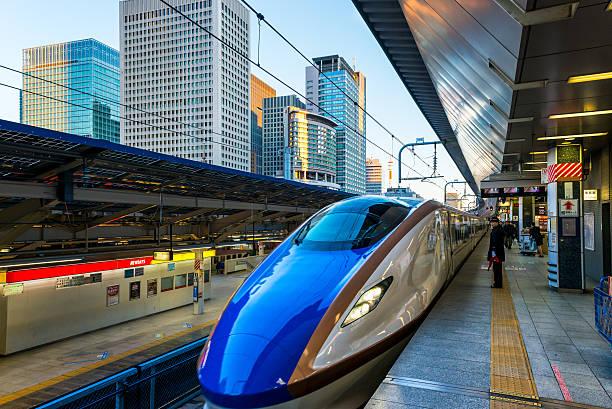 Shinkansen Tokyo, Japan - January 3, 2015: A Shinkansen train pulls into Tokyo Station on January 3, 2015 in Tokyo, Japan. bullet train stock pictures, royalty-free photos & images