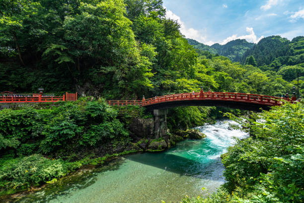 Shinkyo Bridge stands at the entrance to Nikko's shrines and temples, Japan stock photo