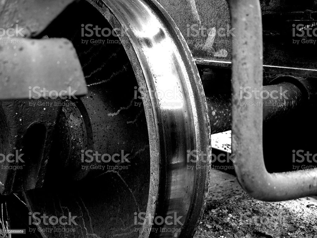 Shinny train wheel / Black& White stock photo