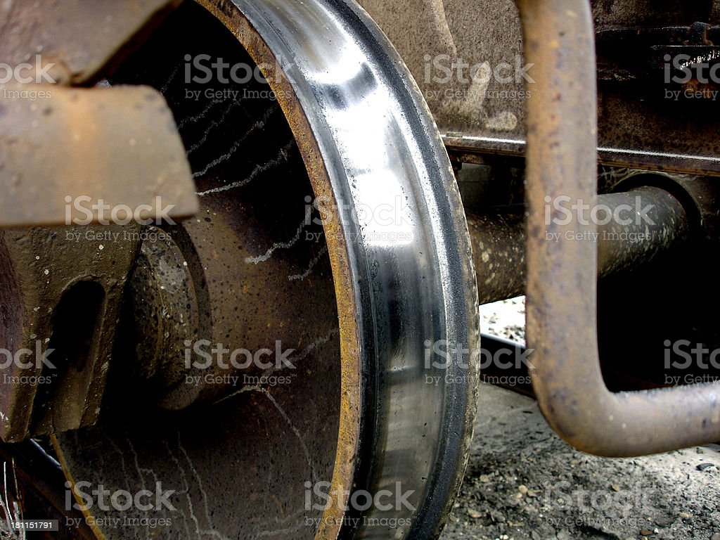 Shinny train wheel stock photo