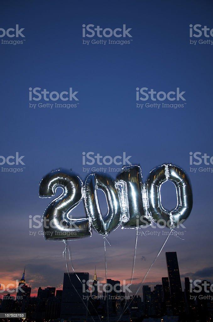 Shiny 2010 Balloons Skyline stock photo