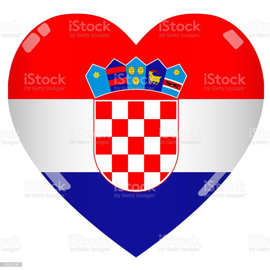 2D Bandiera della Croazia cuore lucido - foto stock