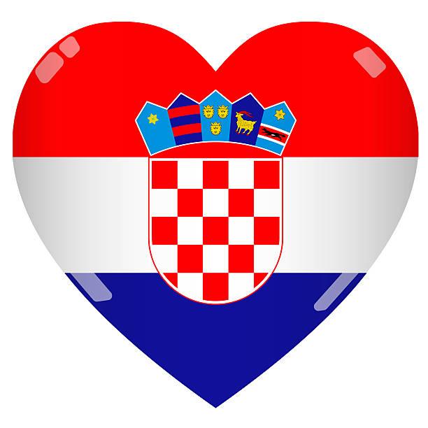 Bandeira de coração brilhante 2D Croácia - foto de acervo