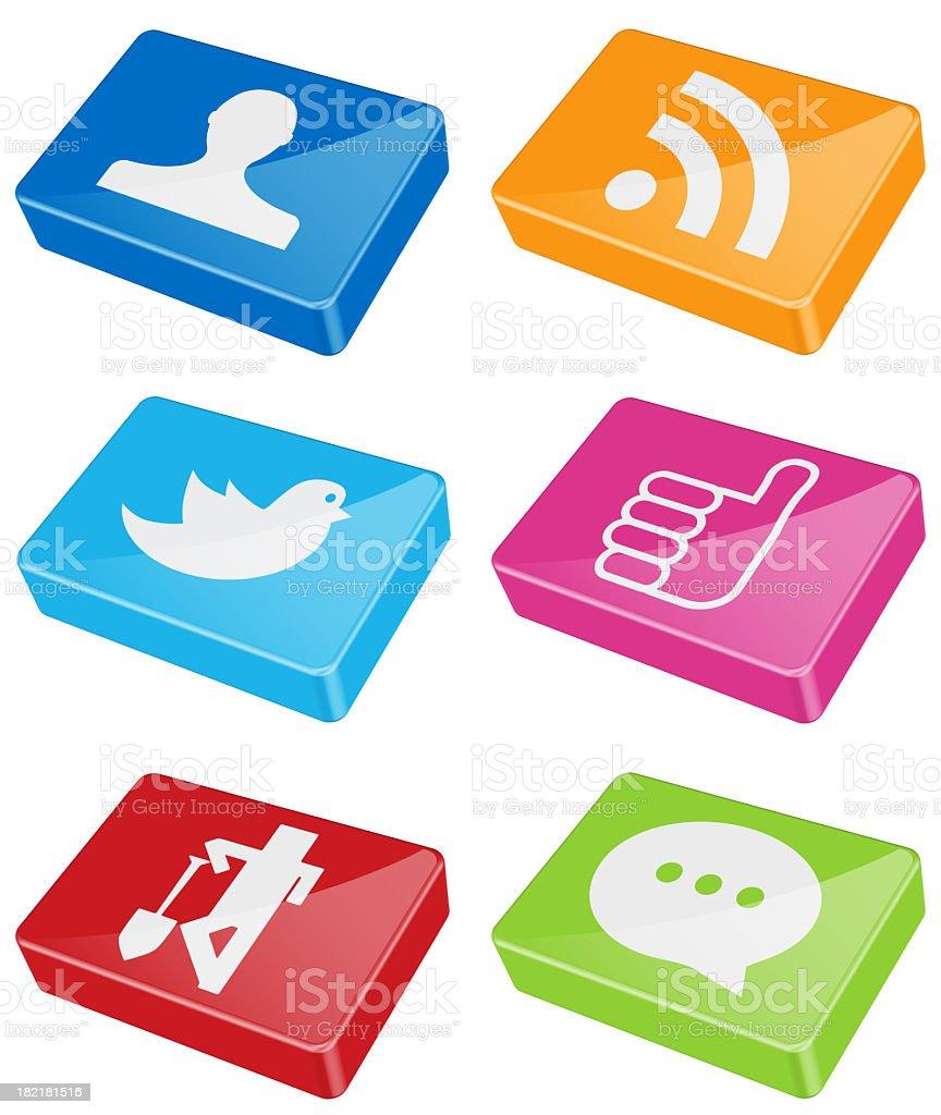 Shiny bars of social media icons stock photo