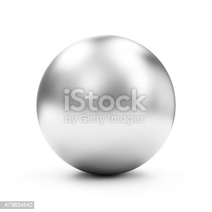 istock Shiny Big Golden Sphere or Button isolated on white background 473834542