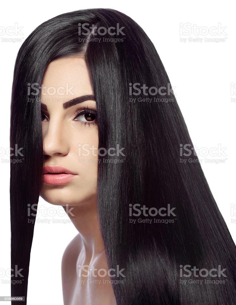 shiny black hair stock photo