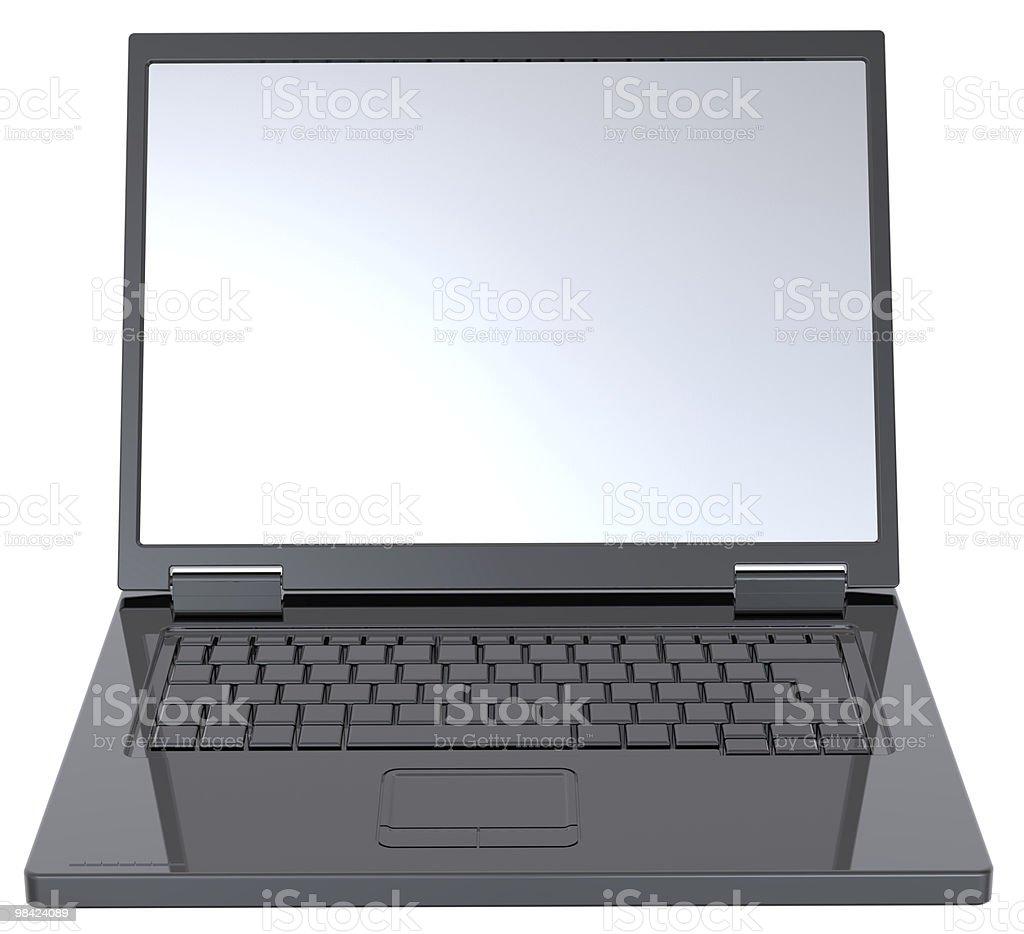 Shiny black laptop isolated on white. royalty-free stock photo