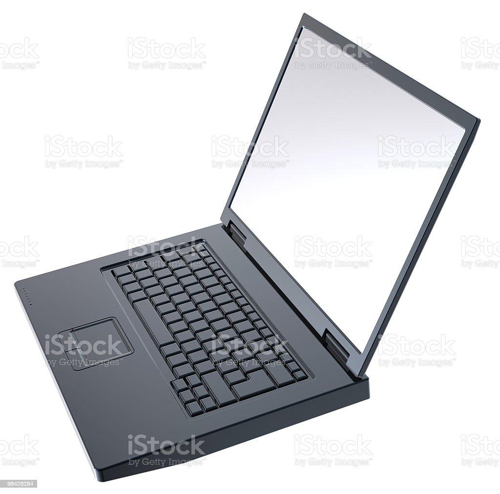 Nero lucido computer portatile isolato su bianco. foto stock royalty-free