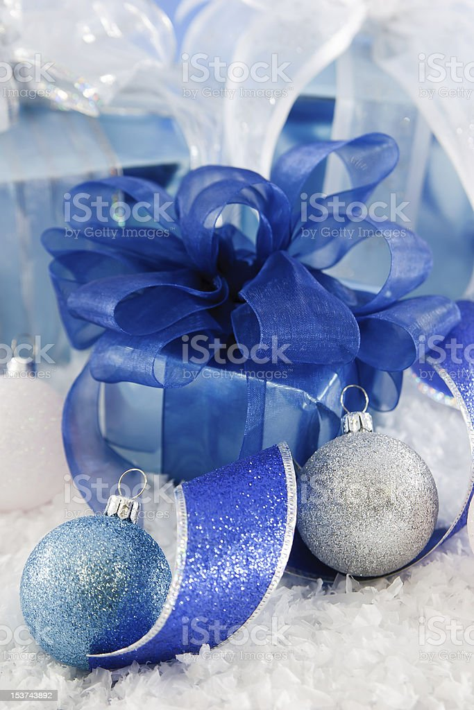 Shiny Blue and White Gifts royalty-free stock photo