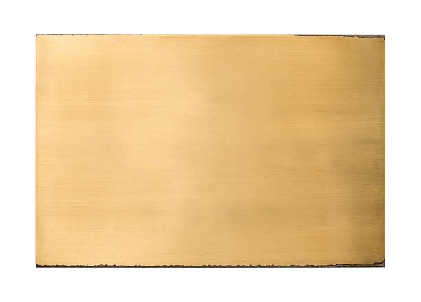 Shiny brass blank metal sign texture stock photo