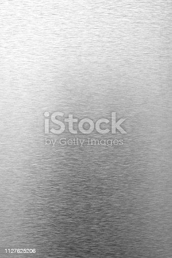 istock Shiny brushed metal background 1127625206