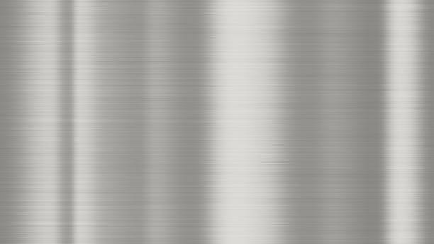 Shiny brushed metal background texture. Polished metallic steel plate. Sheet metal glossy shiny silver Shiny brushed metal background texture. Polished metallic steel plate. Sheet metal glossy shiny silver nickel stock pictures, royalty-free photos & images