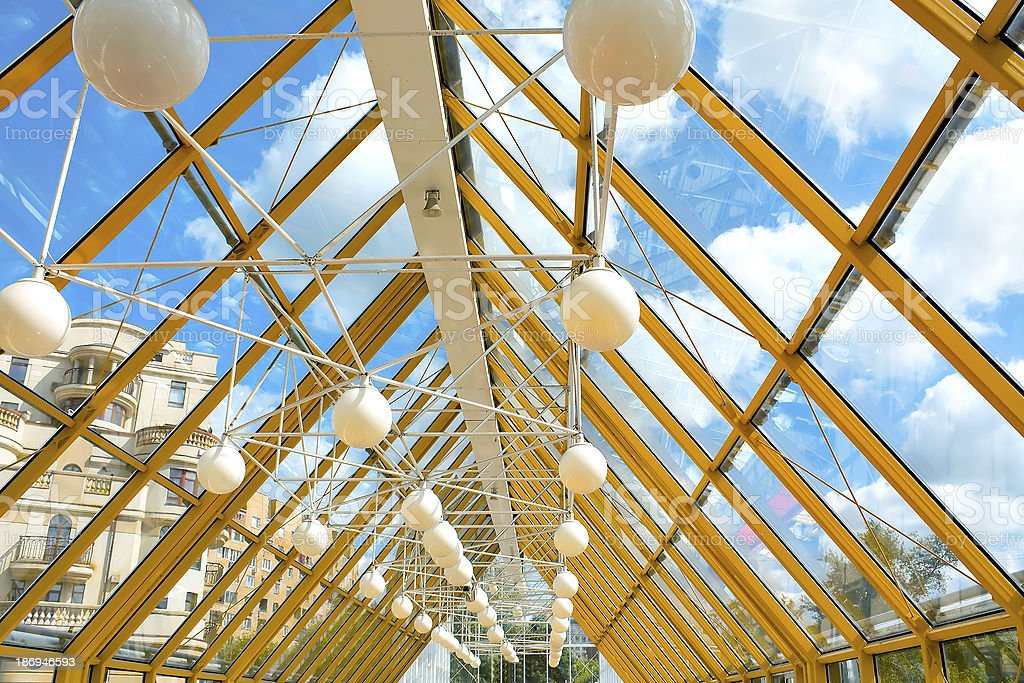 shiny ceiling inside clean hallway royalty-free stock photo
