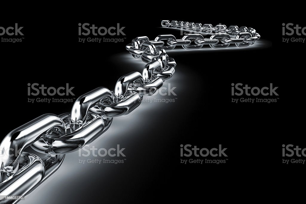 shiny chain in the dark stock photo