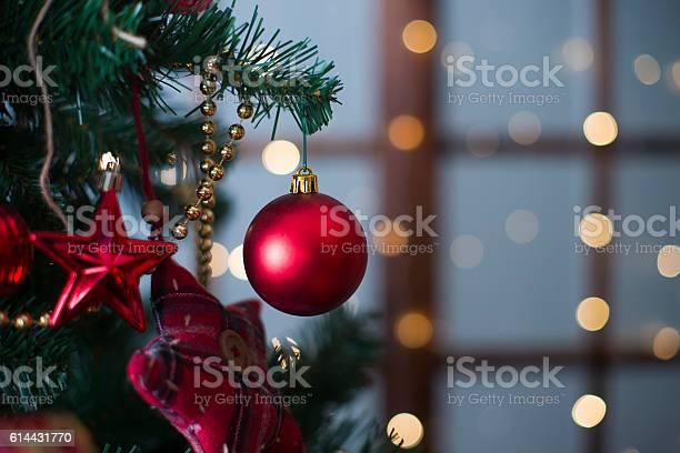 Shiny christmas red ball hanging on pine branches picture id614431770?b=1&k=6&m=614431770&s=612x612&h=19vgxqnlmnsv 7bd2rjalgp2ge9utig9zlmgpxeqwra=