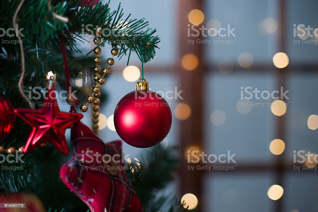 Shiny Christmas red ball hanging on pine branches stock photo