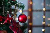 Shiny Christmas red ball hanging on pine branches
